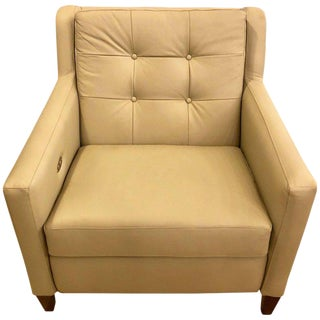 Hand-Stitched Leather Electronically Reclining Club Chair For Sale