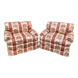 Image of Pair of Brunschwig & Fils Fully Upholstered Club Chairs - Nancy Sinatra For Sale