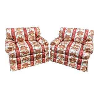 Pair of Brunschwig & Fils Fully Upholstered Club Chairs - Nancy Sinatra For Sale