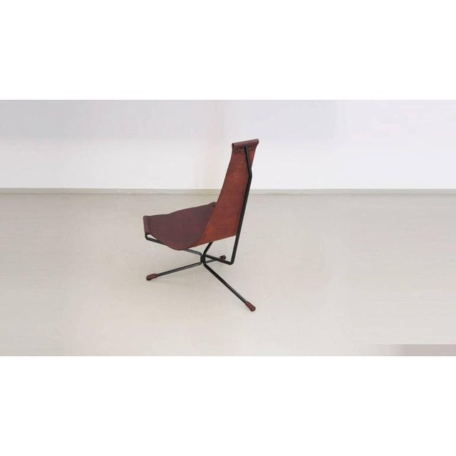 Daniel L. Wenger Pair of Dan Wenger Lotus Chair in Leather and Metal For Sale - Image 4 of 9
