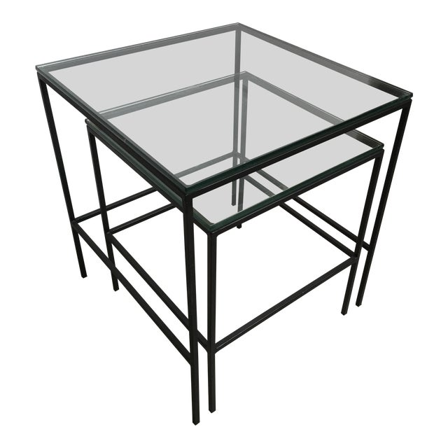 1950s Mid Century Modern Black Iron Frame & Glass Top Nesting Tables - 2 Pieces For Sale