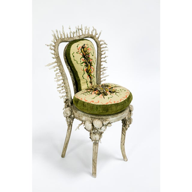White Fantasy Shell and Coral Chair With Embroidered Pillow For Sale - Image 13 of 13