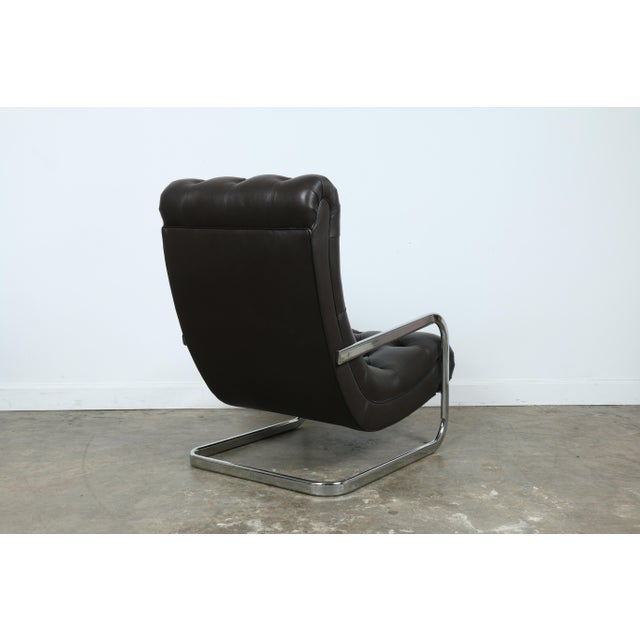 Italian Leather Chair and Ottoman For Sale In Los Angeles - Image 6 of 11