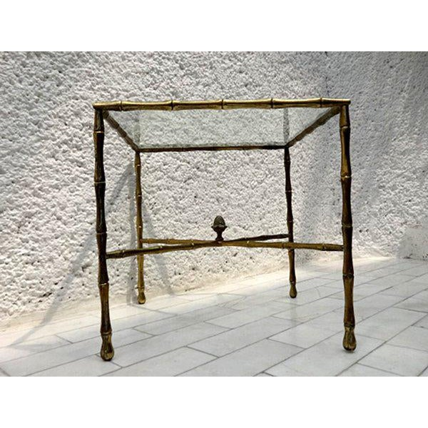 1950s Custom Faux Bamboo Brass Side Table by Arturo Pani For Sale - Image 5 of 5