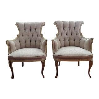 Italian Regency Pink Tufted Scrollback Bergère Chairs - a Pair