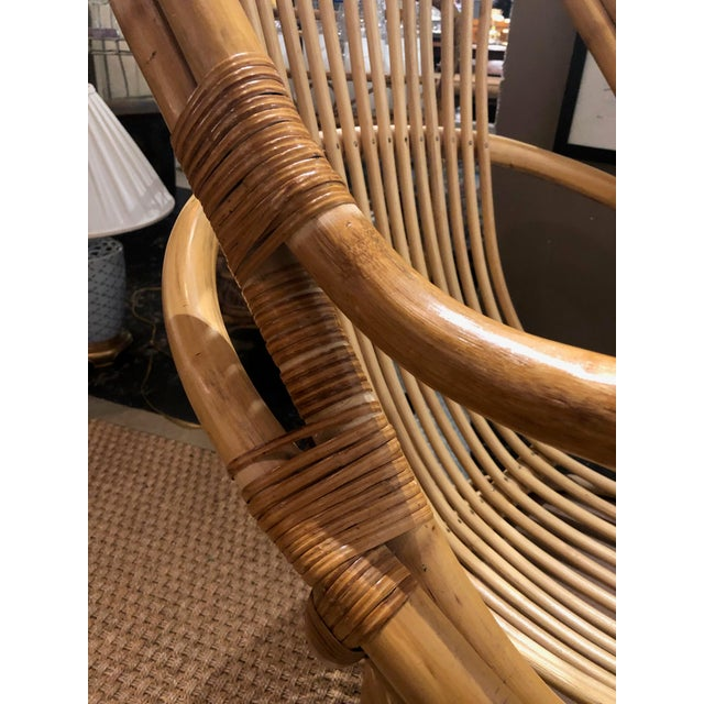 1980s Vintage Bamboo Swivel Chairs- a Pair For Sale - Image 9 of 13