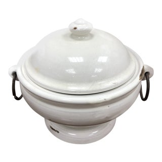 Ironstone Lidded Bowl With Rings For Sale