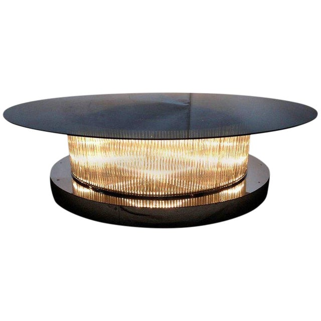 Monumental Italian Crystal Bars Coffee Table For Sale