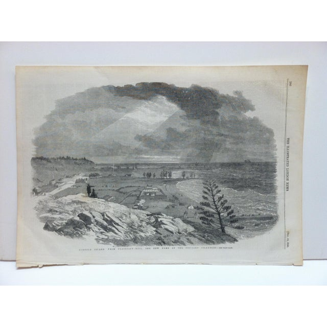 """Mid 19th Century 1856 Antique Illustrated London News """"Norfolk Island - From Flagstaff Hill"""" Print For Sale - Image 5 of 5"""