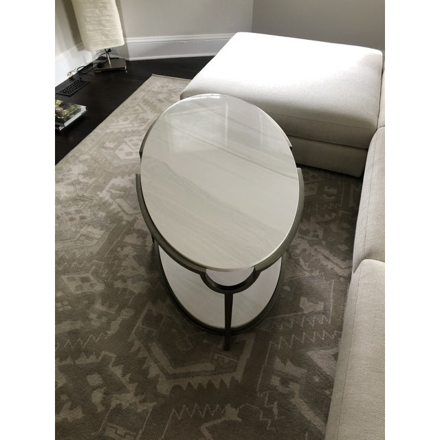 Contemporary Oval Faux Marble and Steel Two Tier Coffee Table For Sale - Image 9 of 11