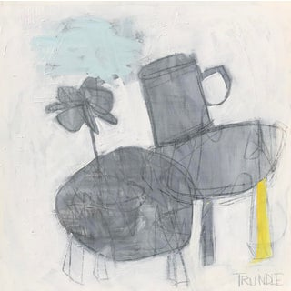 """Sarah Trundle, """"Tabletop With Yellow and Blue"""", Abstract Still Life Painting For Sale"""