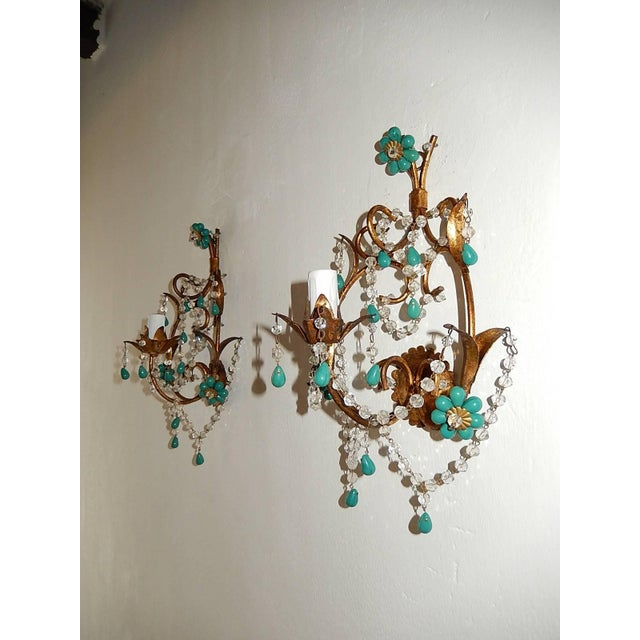 French Turquoise Green Murano Beads Rock Crystal Swags Sconces For Sale In Los Angeles - Image 6 of 10