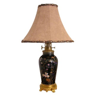 19th Century French Hand-Painted Porcelain Lamp on Ormolu Base For Sale