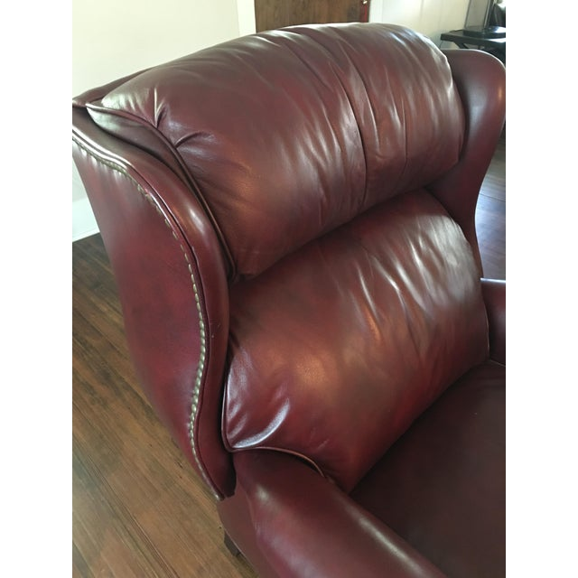 Hancock & Moore Addison Bustle Back Ball & Claw Recliner in Red Leather - Image 8 of 11
