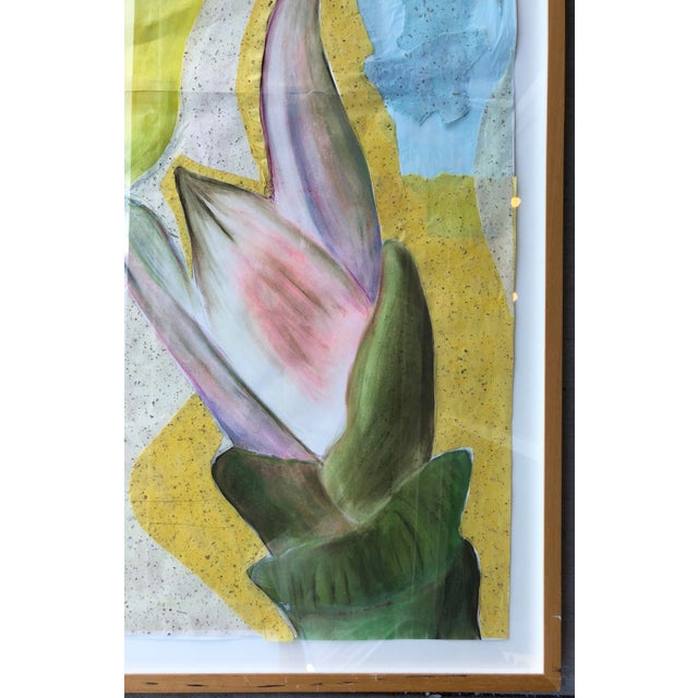 1990s Large Mixed Media Flowers/Signed For Sale - Image 5 of 10