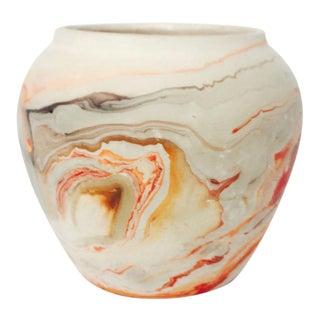 Vintage Nemadji Pottery Planter - Brown and Orange Swirls