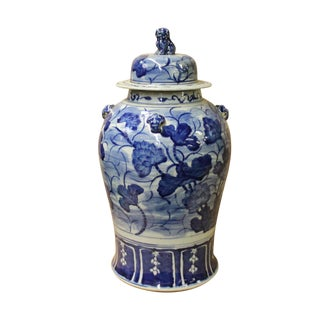 Chinese Blue & White Lotus Flower Porcelain Large Temple General Jar For Sale