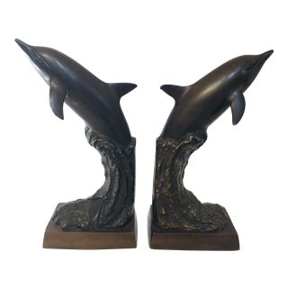 Vintage Dolphins Bronze Bookends - a Pair For Sale
