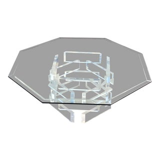 Stacked Lucite Octagon Glass Table Top Coffee Table For Sale