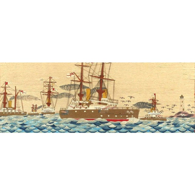 Victorian Large British Sailor's Woolwork of Fleet, Circa 1890 For Sale - Image 3 of 6