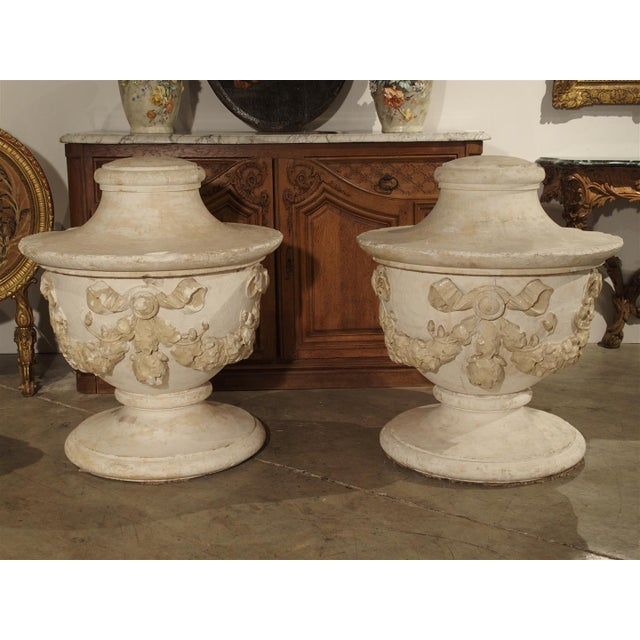 Excellent Pair Of Large And Unusual 3 Piece Antique Plaster Vases