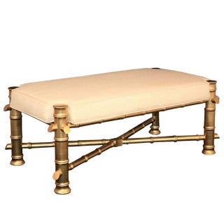 Vintage Hollywood Regency Chinese Chippendale Faux Bamboo Gold Wood Bench Seat