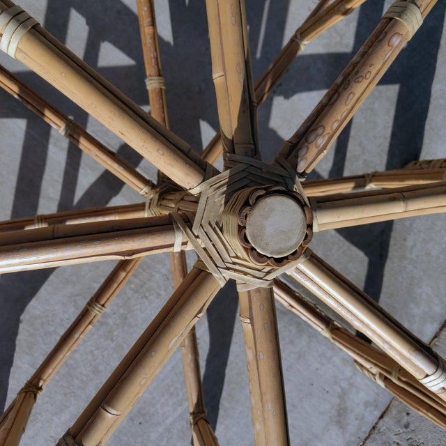 1990s Boho Chic Large McGuire Octagonal Bamboo and Rattan Dining Table Base For Sale In Palm Springs - Image 6 of 9