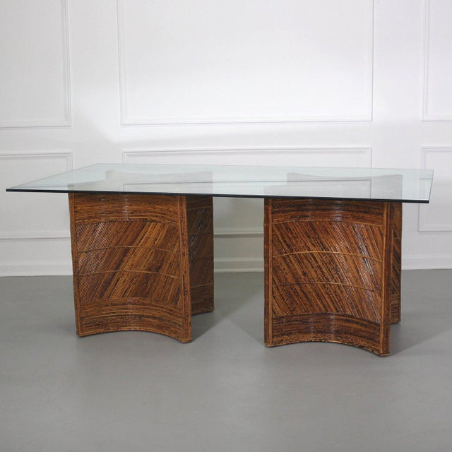 Mid-Century Modern Sculptural Split Reed Double Pedestal Dining Table After Gabriella Crespi For Sale - Image 3 of 8