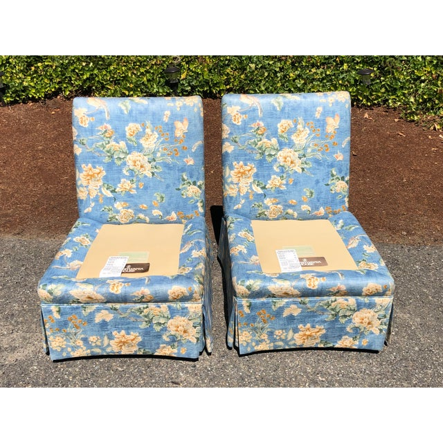 Pennsylvania House Vintage Pennsylvania House Skirtted Floral Chinosire Slipper Chairs- A Pair For Sale - Image 4 of 12