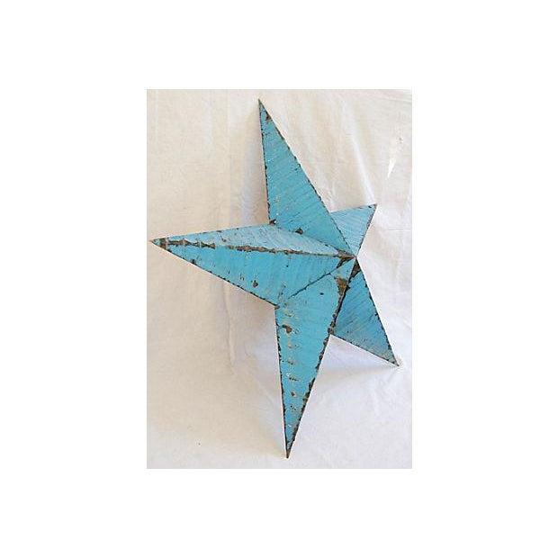 Large Reclaimed Barn Metal Blue Star - Image 5 of 6