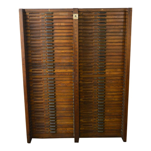 Hamilton Antique Oak 76 Drawer Flat File Wood Type Letterpress Printers Cabinet - Image 1 of 11