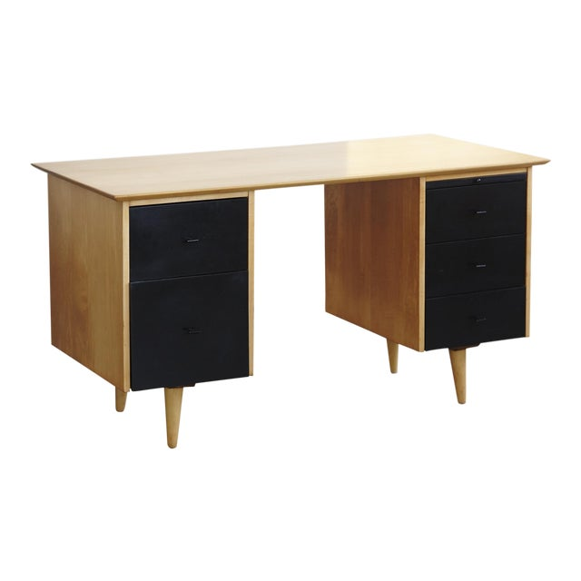 5 Drawer Double Sided Two Tone Black, Birch Desk by Paul McCobb for Planner Group For Sale
