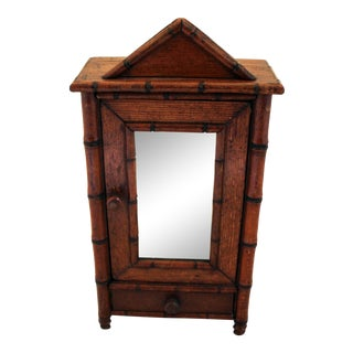 Late 19th Century Miniature Faux Bamboo Armoire For Sale