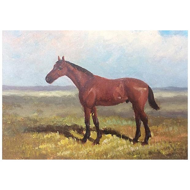 English oil on board painting of an Equestrian horse. Recently reframed in a new wood frame. No signature.