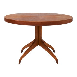 Round Teak Dining Table on Clawed Feet by David Rosén For Sale