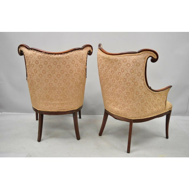 Early 20th Century Vintage Hollywood Regency French Style Mahogany Armchairs- A Pair For Sale - Image 11 of 13