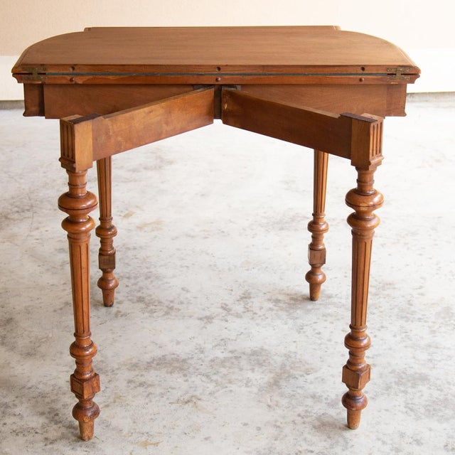 19th Century French Henri II Walnut Game Table ~ Console For Sale - Image 9 of 13