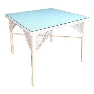 1950s White Wicker Glass-Top Dining Table For Sale