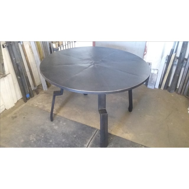 Black Round Steel Distortion Dining Table - Image 2 of 5