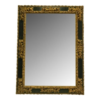 Spanish 22k Giltwood Mirror With Green Lacquer For Sale