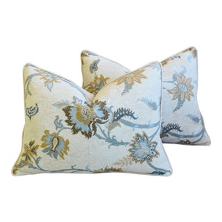 "Designer Italian Floral Linen Velvet Feather/Down Pillows 24"" X 18"" - Pair For Sale"