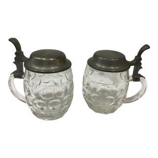Kurtz Stuttgart Glass & Pewter Beer Steins - A Pair