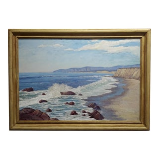 Edward Willis Hicks - Beautiful San Simeon Seascape -California Oil Panting For Sale