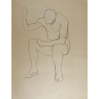 1950's Line Drawing Male Figure Study For Sale
