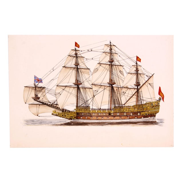 Mid-Century Sovereign of the Seas Watercolor - Image 1 of 3