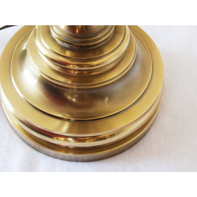 Stiffel Brass & Porcelain Lamps & Shades - A Pair For Sale - Image 7 of 8