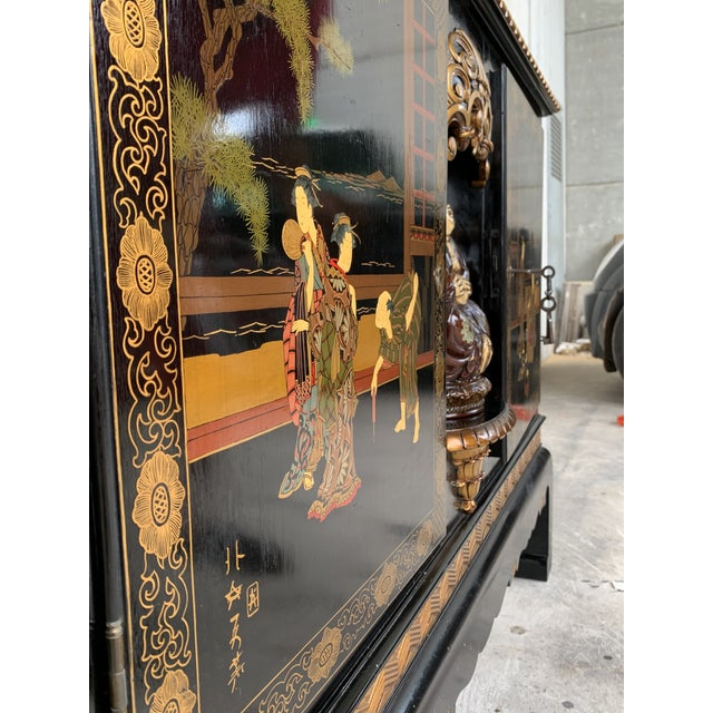 1920s 20th Black Lacquer and Hand Painted Open Altar Table or Sideboard For Sale - Image 5 of 13