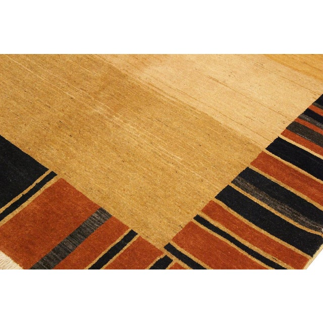 Gabbeh Jenee Tan/Blue Wool Area Rug -5'1 X 6'5 For Sale In New York - Image 6 of 8
