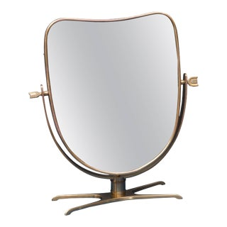 Italian Brass Vanity or Tabletop Mirror For Sale