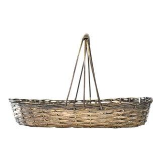 Vintage Silver Metal Woven Basket For Sale